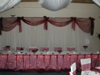 Bridal main table with fairy lights, organza frill and backdrop