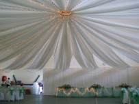 Draped roof with fairy lights