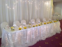 Main table, yellow decor, sunflowers, wedding Kelvin Grove hotel, Claremont, Cape Town
