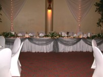 Main table,drapes and fairy lights, Rotunda Camps Bay
