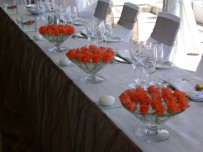Bridal main table setting,cone vases with roses, Twelve apostles Hotel