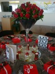 Red roses in Martini vase