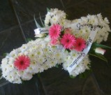 Cross shaped wreath - send personalized funeral flowers in the Cape Town area
