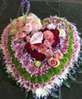 Personalized funeral flowers - multicoloured heart wreath from a Cape Town florist