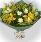 A bunch of white and yellow lilies and roses for delivery in the Paarden Eiland area