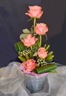 Deliver Peach roses in pottery - click to enlarge