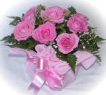 DElivery of Pink roses in a gift wrapped container - click to enlarge