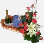 12 or 20 roses with lilies, chocs, sparkling wine, deliver in South Africa