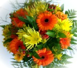 Florists Cape Town -send a mixed bunch of bright orange and yellow flowers in gift wrap - Click to enlarge