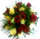 Deliver a bunch of red and white roses in gift wrap - click to enlarge