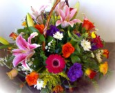 A basket of bright-coloured flowers - click to enlarge